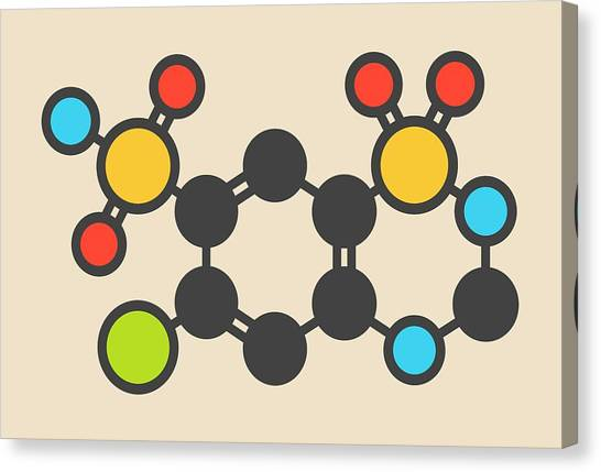 Diabetes Canvas Print - Hydrochlorothiazide Diuretic Molecule by Molekuul