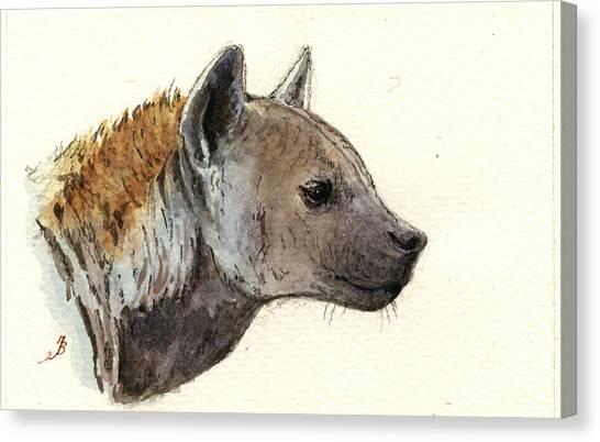 Nature Study Canvas Print - Hyena Head Study by Juan  Bosco