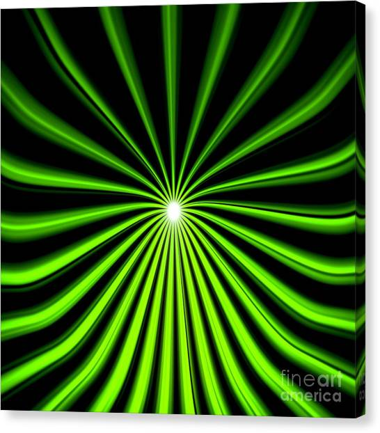 Hyperspace Electric Green Square Canvas Print