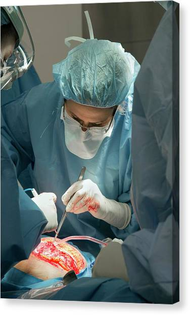 Protective Clothing Canvas Print - Hysterectomy In Endometrial Cancer by Jim West