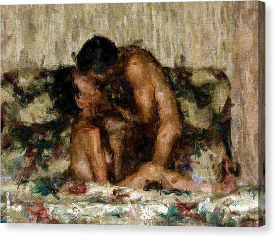 Nudes Canvas Print - I Adore You by Kurt Van Wagner