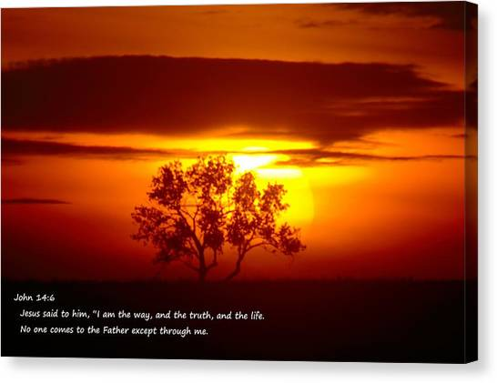 Bible Verses Canvas Print - I Am The Way John 14-6 by Jeff Swan