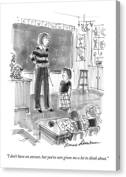 Little Boy Canvas Print - I Don't Have An Answer by Bernard Schoenbaum