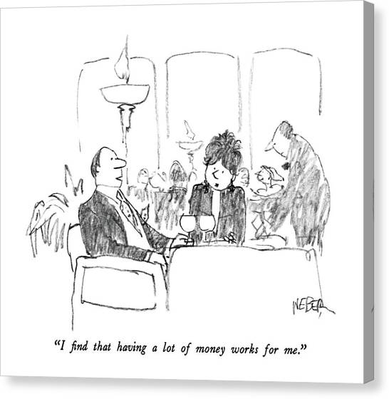 Dinner Table Canvas Print - I Find That Having A Lot Of Money Works For Me by Robert Weber