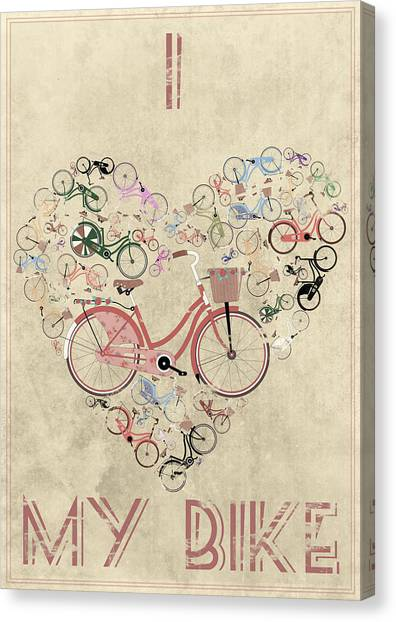 Cycling Canvas Print - I Heart My Bike by Andy Scullion