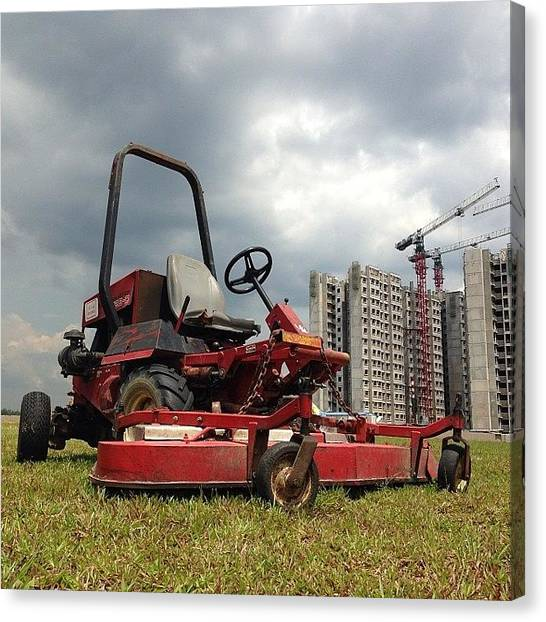 Machinery Canvas Print - I Help Shape The Greenery In The by Roger Ng