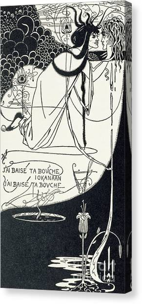 English And Literature Canvas Print - I Kissed Your Mouth by Aubrey Beardsley