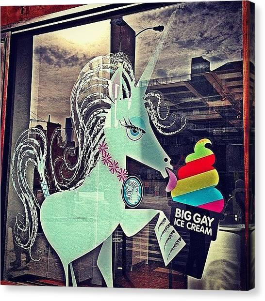 Unicorns Canvas Print - I Knew Unicorns Liked #icecream by Emily Hames