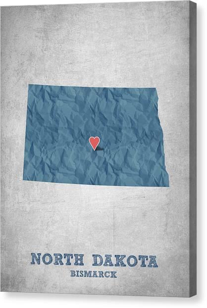North Dakota Map Canvas Print - I Love Bismarck North Dakota - Blue by Aged Pixel