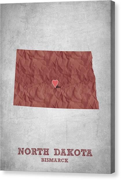 North Dakota Map Canvas Print - I Love Bismarck North Dakota - Red by Aged Pixel