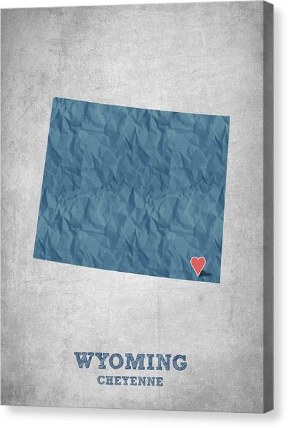 Contemporary Cowboy Art Canvas Print - I Love Cheyenne Wyoming - Blue by Aged Pixel