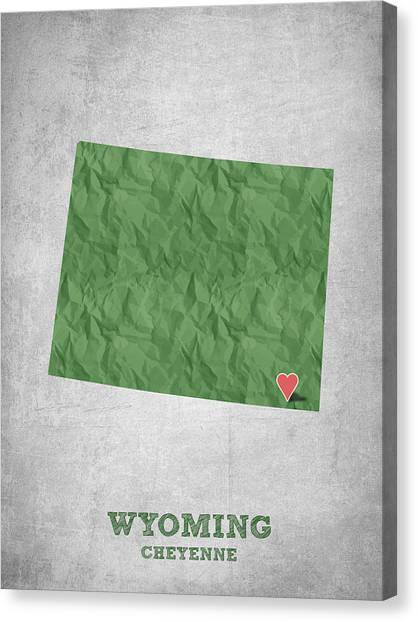Contemporary Cowboy Art Canvas Print - I Love Cheyenne Wyoming - Green by Aged Pixel