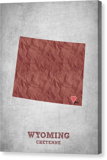 Contemporary Cowboy Art Canvas Print - I Love Cheyenne Wyoming - Red by Aged Pixel