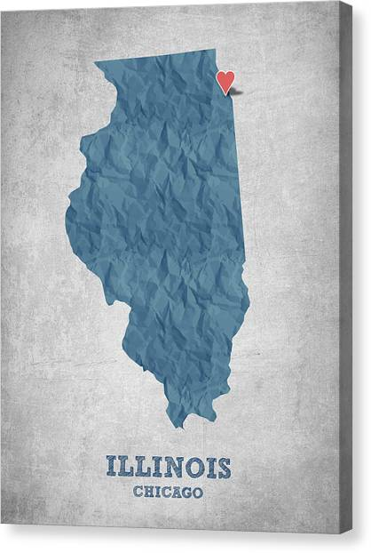 Illinois Map Canvas Print - I Love Chicago Illinois - Blue by Aged Pixel