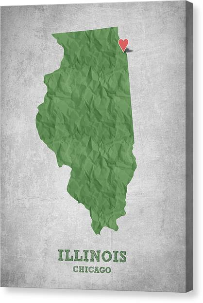 Illinois Map Canvas Print - I Love Chicago Illinois - Green by Aged Pixel