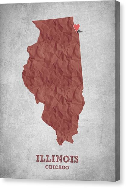 Illinois Map Canvas Print - I Love Chicago Illinois - Red by Aged Pixel