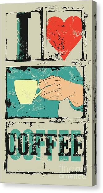 I Love Coffee. Coffee Typographical Canvas Print by Zoo.by