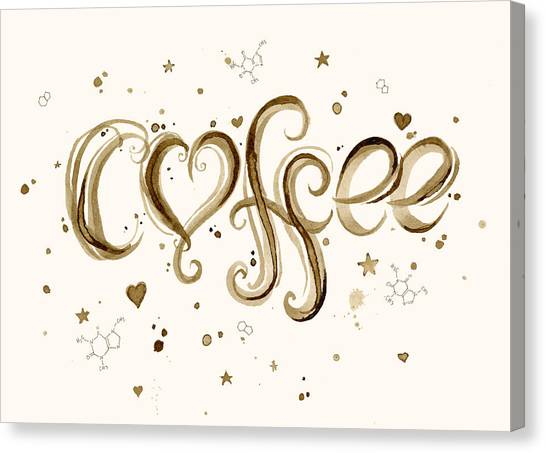 Coffee Canvas Print - I Love Coffee by Olga Shvartsur