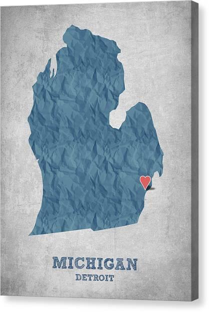 Michigan State University Canvas Print - I Love Detroit Michigan - Blue by Aged Pixel