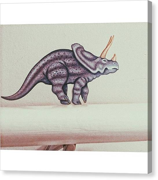 Triceratops Canvas Print - I Love Dis Little Guy #dinosaur by Bailey Moore