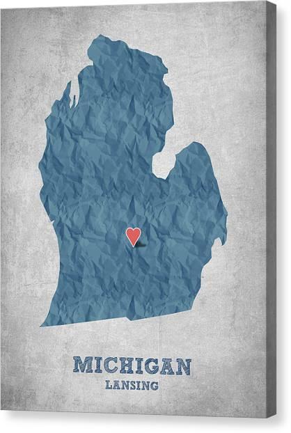 Michigan State University Canvas Print - I Love Lansing Michigan - Blue by Aged Pixel