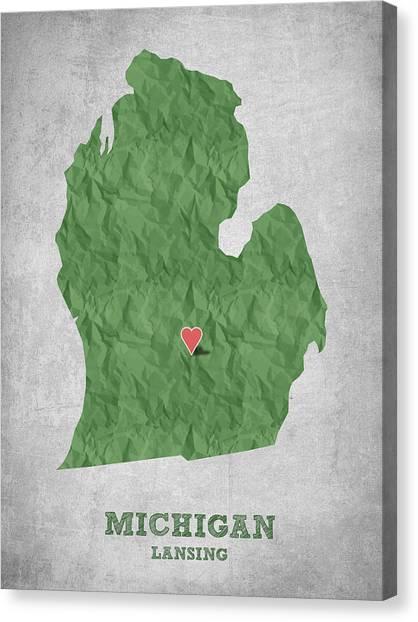 Michigan State University Canvas Print - I Love Lansing Michigan - Green by Aged Pixel