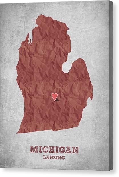 Michigan State University Canvas Print - I Love Lansing Michigan - Red by Aged Pixel