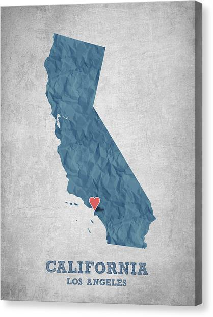Los Angeles Angels Canvas Print - I Love Los Angeles California - Blue by Aged Pixel