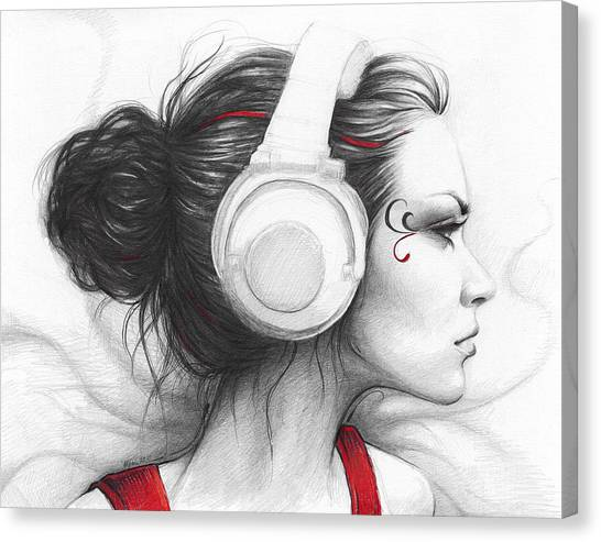Headphones Canvas Print - I Love Music by Olga Shvartsur