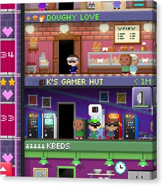 Sprite Canvas Print - I Love My #bitizens In #tinytower ❤ by Katrina A