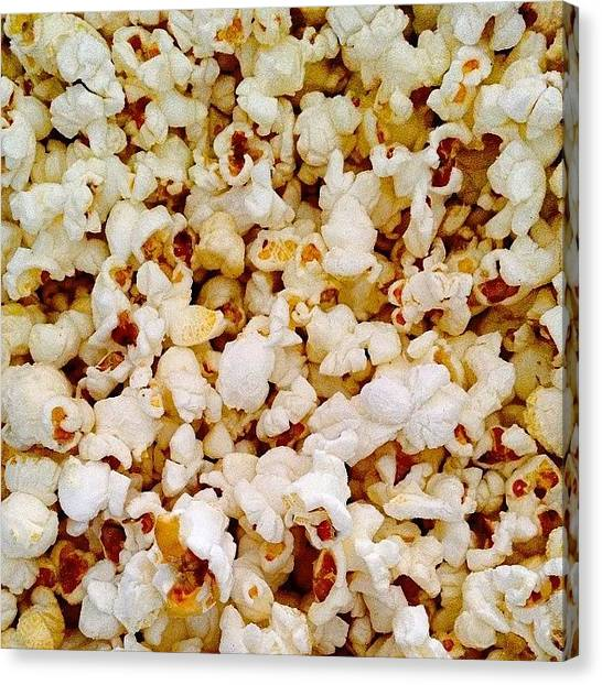 Popcorn Canvas Print - I Love Popcorn #popcorn #love #food by Megan Shuttlewood