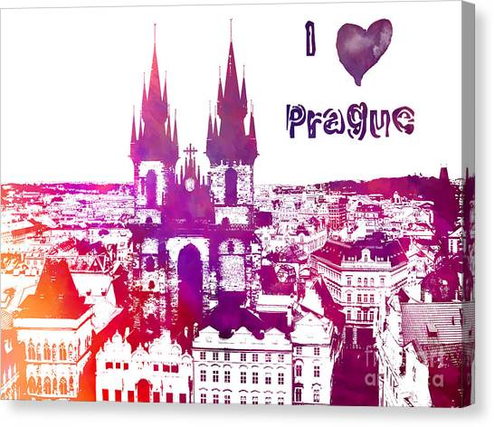 Prague Canvas Print - I Love Prague by Justyna JBJart