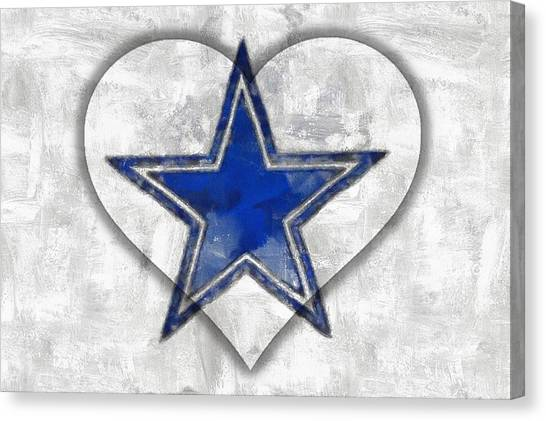 Dallas Stars Canvas Print - I Love The Cowboys by Carrie OBrien Sibley