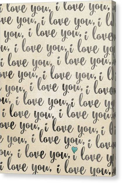 Wedding Day Canvas Print - I Love You - Rustic by Jo Moulton