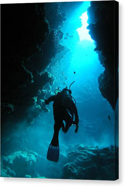 Underwater Caves Canvas Print - I See The Light by Karen Rowe
