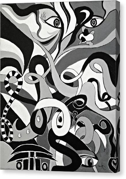I Seek U - Abstract Eye Paintings, Black And White Eye Art - Ai P. Nilson Canvas Print