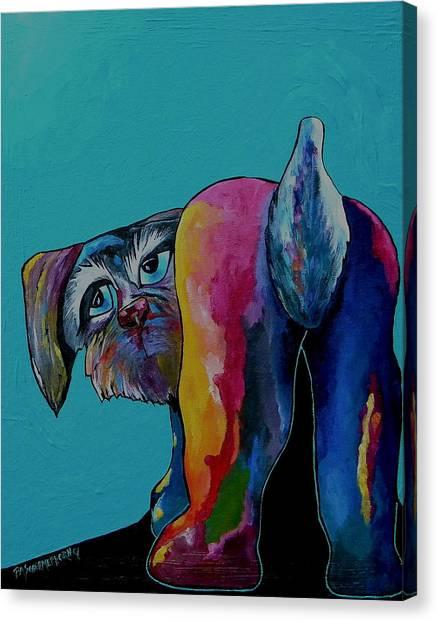 Schnauzers Canvas Print - I Swear The Cat Did It by Patti Schermerhorn