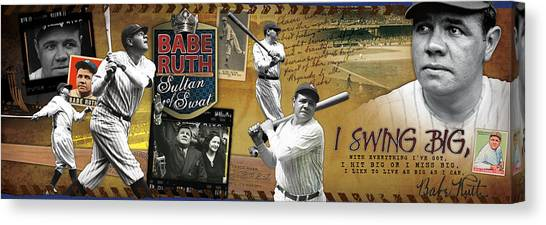 Babe Ruth Canvas Print - I Swing Big Babe Ruth by Retro Images Archive