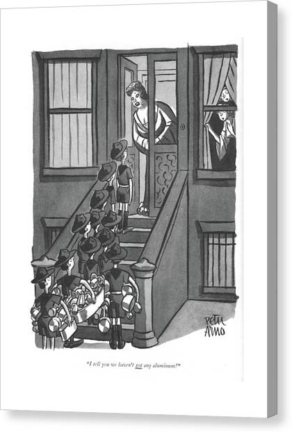 Boy Scouts Canvas Print - I Tell You We Haven't Got Any Aluminum! by Peter Arno
