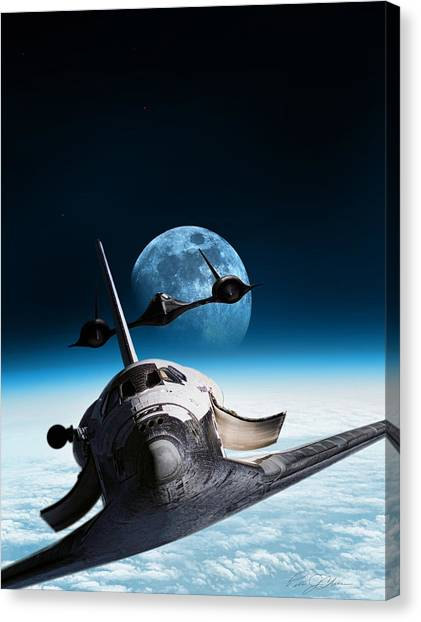 Space Shuttle Canvas Print - I Think We're Being Followed by Peter Chilelli