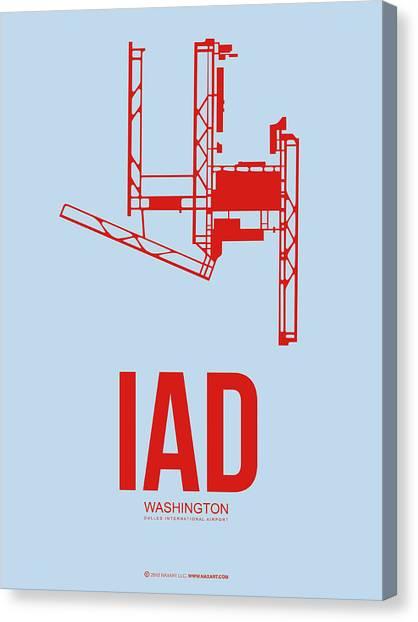 Washington D.c Canvas Print - Iad Washington Airport Poster 2 by Naxart Studio