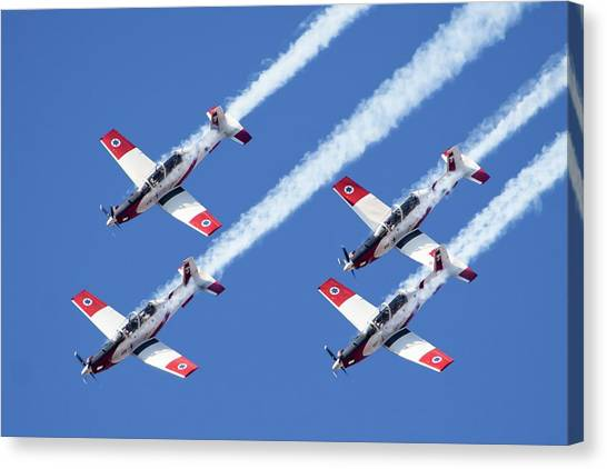 Acrobatic Canvas Print - Iaf Flight Academy Aerobatics Team by Photostock-israel