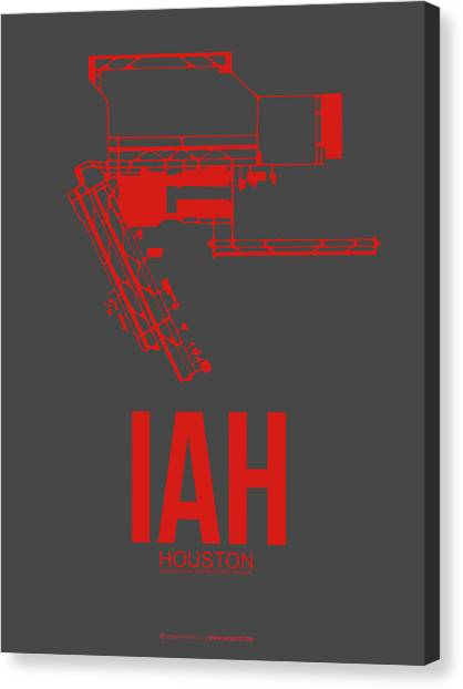 Airports Canvas Print - Iah Houston Airport Poster 1 by Naxart Studio