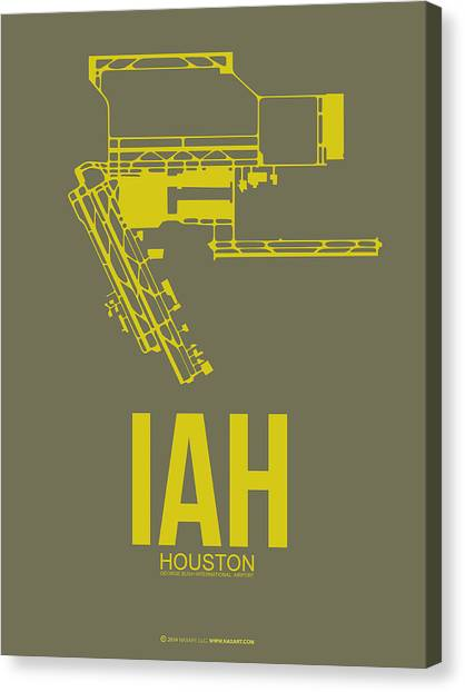 Airports Canvas Print - Iah Houston Airport Poster 2 by Naxart Studio