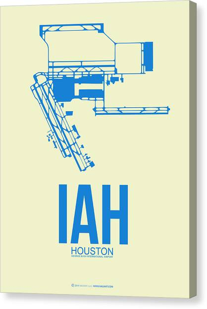 Airports Canvas Print - Iah Houston Airport Poster 3 by Naxart Studio