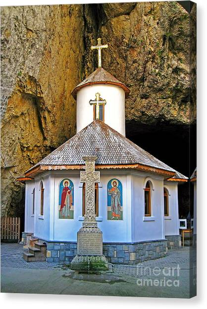Mountain Caves Canvas Print - Ialomita Cave Chapel Romania by Harold Bonacquist