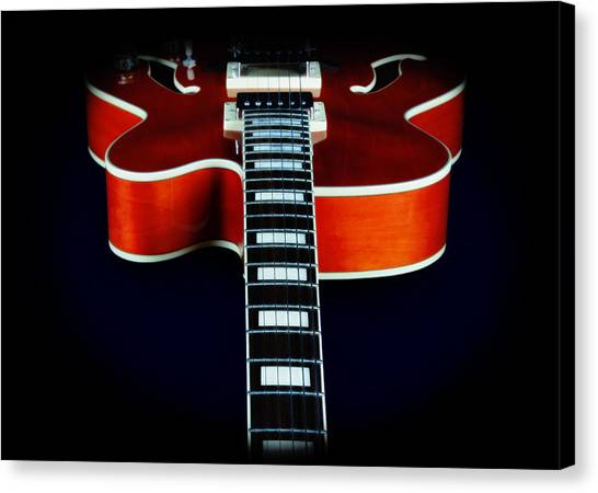 Floating Box Canvas Print - Ibanez Af75 Electric Hollowbody Guitar Neck Detail by John Cardamone