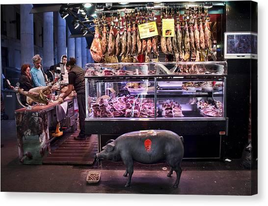 Ham Canvas Print - Iberico Ham Shop In La Boqueria Market In Barcelona by David Smith