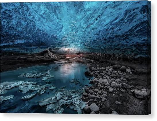 Snow Melt Canvas Print - Ice Cave by Javier De La