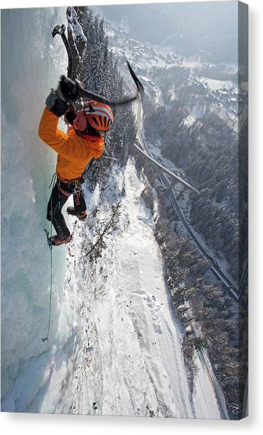 Axes Canvas Print - Ice Climber Leading Steep Waterfall Ice by Jonathan Griffith